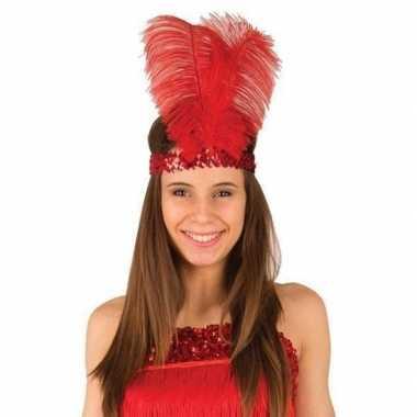Originele rode charleston hoofdband veren dames carnavalskleding