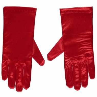 Originele rode gala handschoenen kort satijn carnavalskleding