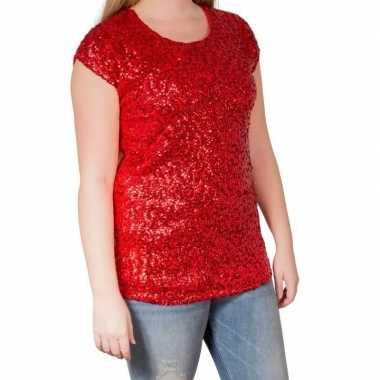 Originele rode glitter pailletten disco shirt dames l/xl carnavalskle