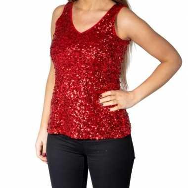 Originele rode glitter pailletten disco topje/ mouwloos shirt dames c
