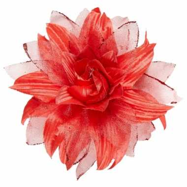 Originele rode haarbloem glitters carnavalskleding