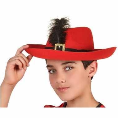 Originele rode musketier verkleed hoed kinderen carnavalskleding