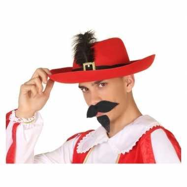 Originele rode musketier verkleed hoed volwassenen carnavalskleding