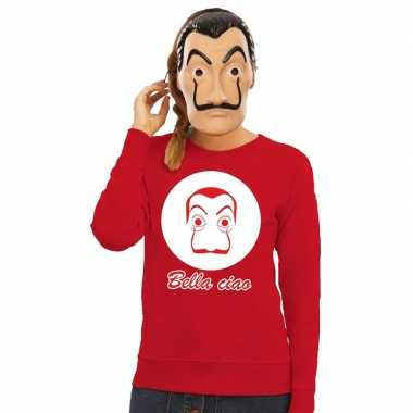 Originele rode salvador dali sweater la casa papel masker dames carna