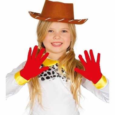 Originele rode verkleed handschoenen kinderen carnavalskleding