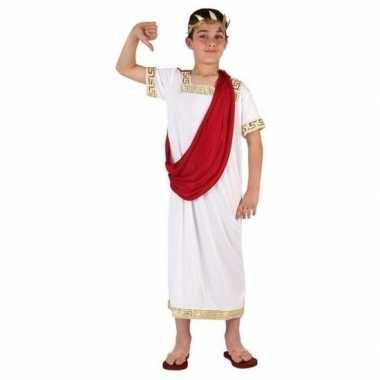 Originele romeinse toga verkleed carnavalskleding wit/rood jongens