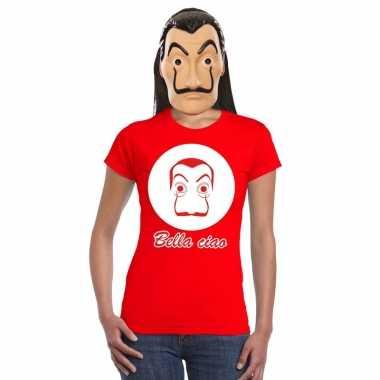 Originele rood salvador dali t shirt la casa papel masker dames carna