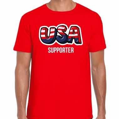 Originele rood t shirt usa / amerika supporter ek/ wk heren carnavalskleding