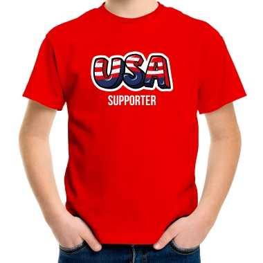 Originele rood t shirt usa / amerika supporter ek/ wk kinderen carnavalskleding
