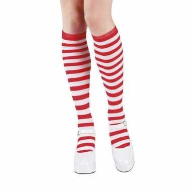 Originele rood/wit gestreepte kniekousen dames carnavalskleding