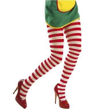 Originele rood wit panty carnavalskleding