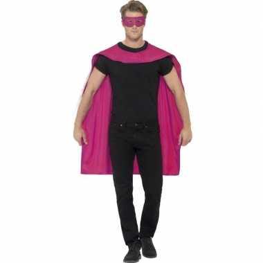 Originele roze cape oogmasker volwassenen carnavalskleding