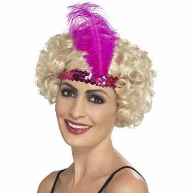 Originele roze charleston hoofdband dames carnavalskleding
