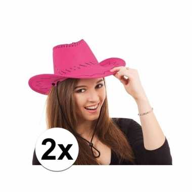 Originele roze cowboy hoeden carnavalskleding 10109212
