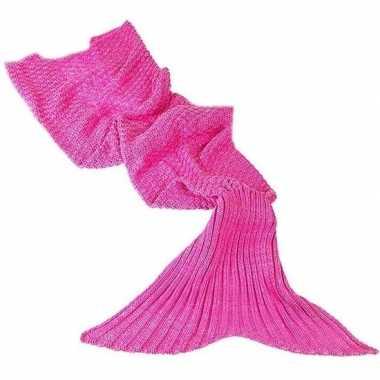 Originele roze gebreide zeemeermin deken volwassenen carnavalskleding