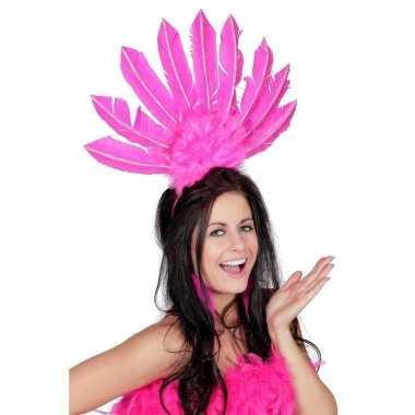 Originele roze haarband veren dames carnavalskleding