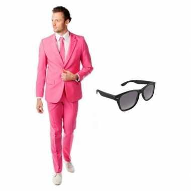 Originele roze heren carnavalskleding maat (l) gratis zonnebril