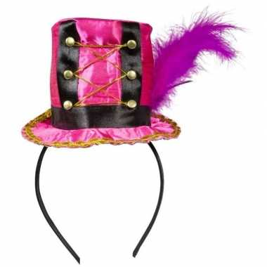 Originele roze hoedje diadeem dames carnavalskleding