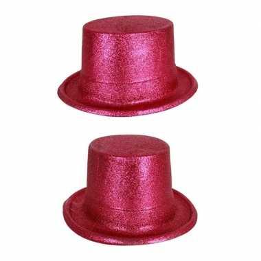 Originele roze hoge hoed glitters volwassenen carnavalskleding