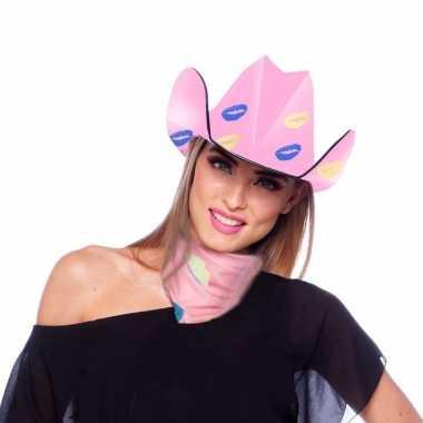Originele roze kartonnen cowboyhoed lippen/kusjes dames carnavalskled