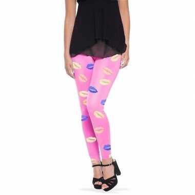 Originele roze legging lippen/kusjes dames carnavalskleding