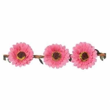 Originele roze madeliefjes festival/hippie haarband dames carnavalskl