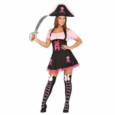 Originele roze piraten verkleedcarnavalskleding dames