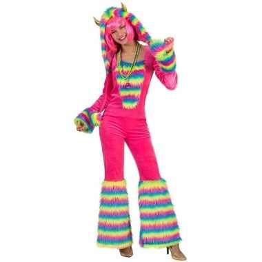 Originele roze regenboog monster verkleed carnavalskleding dames