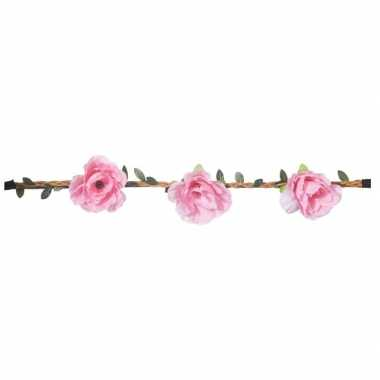 Originele roze rozen festival/hippie haarband dames carnavalskleding