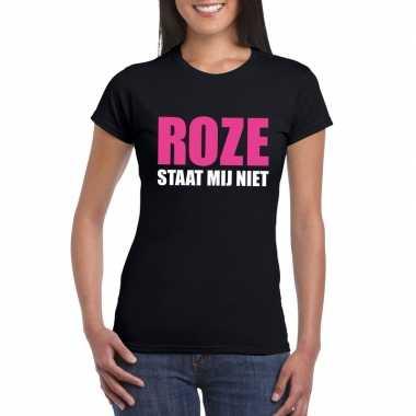 Originele roze staat mij niet toppers t shirt zwart dames carnavalskl