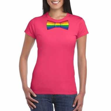 Originele roze t shirt regenboog vlag strikje dames carnavalskleding