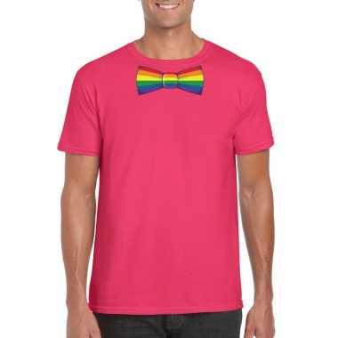 Originele roze t shirt regenboog vlag strikje heren carnavalskleding