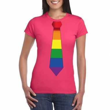 Originele roze t shirt regenboog vlag stropdas dames carnavalskleding