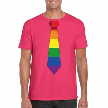 Originele roze t shirt regenboog vlag stropdas heren carnavalskleding