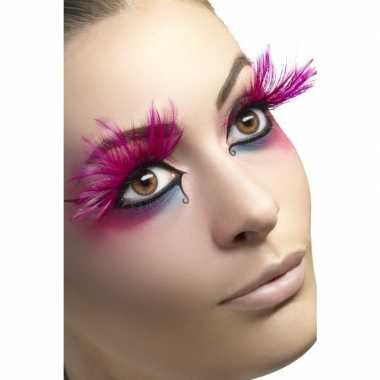 Originele roze veren nepwimpers carnavalskleding