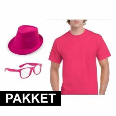 Originele roze verkleed set heren carnavalskleding