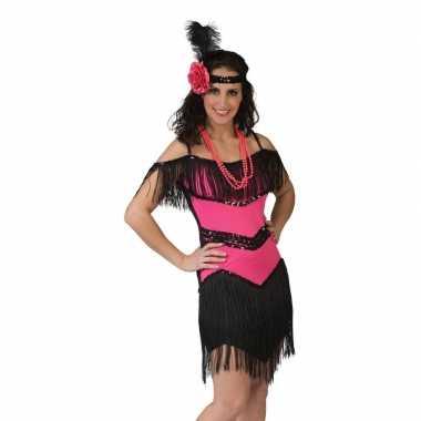 Originele roze/zwart charleston verkleed carnavalskleding dames