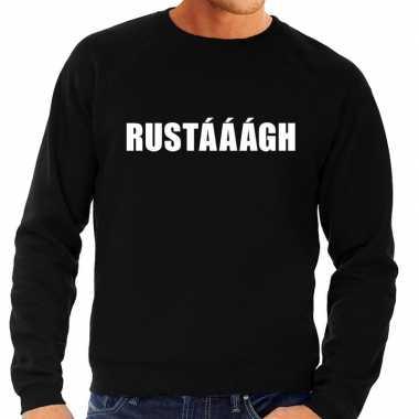 Originele rustaaagh tekst sweater / trui zwart heren carnavalskleding