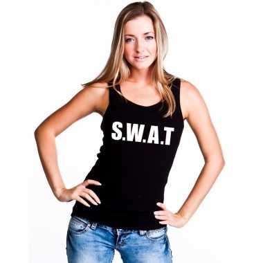 Originele s.w.a.t tekst singlet shirt/ tanktop zwart dames carnavalsk
