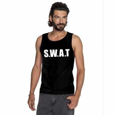 Originele s.w.a.t tekst singlet shirt/ tanktop zwart heren carnavalsk