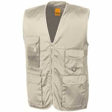 Originele safari/jungle verkleed bodywarmer/vest beige volwassenen ca