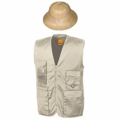 Originele safari/jungle verkleedset vest hoed beige volwassenen carna