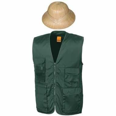 Originele safari/jungle verkleedset vest hoed groen volwassenen carna