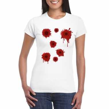 Originele schotwonden t shirt wit dames carnavalskleding