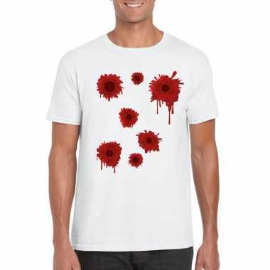 Originele schotwonden t shirt wit heren carnavalskleding