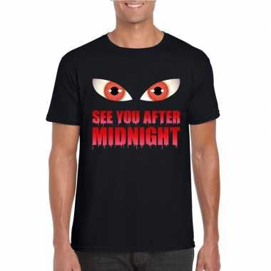 Originele see you after midnight halloween vampier t shirt zwart here