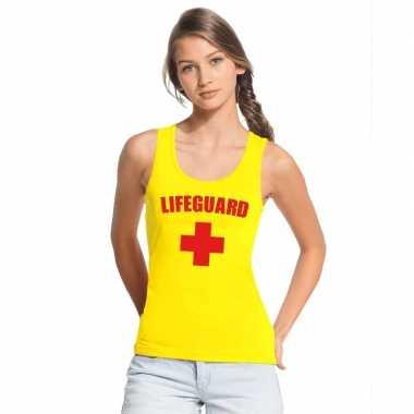 Originele sexy lifeguard/ strandwacht mouwloos shirt geel dames carna