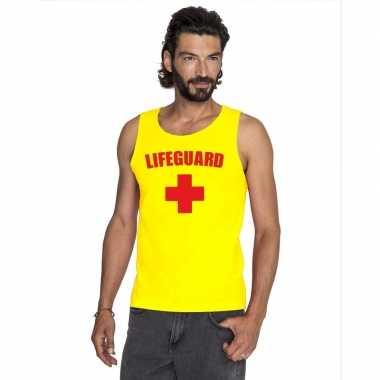 Originele sexy lifeguard/ strandwacht mouwloos shirt geel heren carna