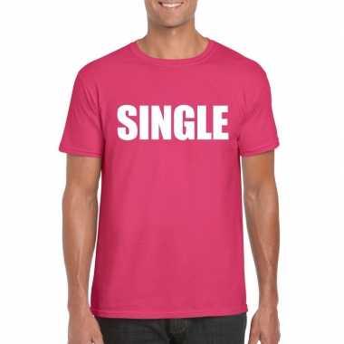 Originele single/ vrijgezel tekst t shirt roze heren carnavalskleding
