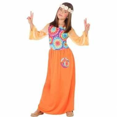 Originele sixties/hippie verkleed carnavalskleding oranje meisjes